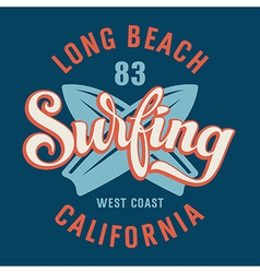 Surfing california vector