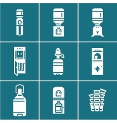 Water coolers white icons set vector