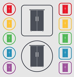 Cupboard icon sign symbols on the round and square vector
