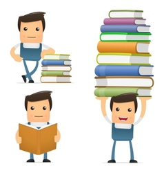 Mechanic with books vector