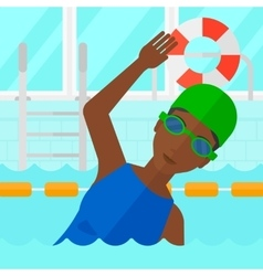 Swimmer training in pool vector