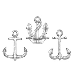 Navy ship anchors with rope sketch icons vector
