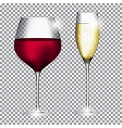 Glass of champagne and wine on transparent vector