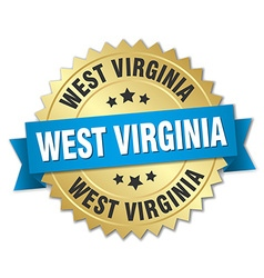 West virginia round golden badge with blue ribbon vector