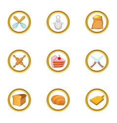 bakery hobby icon set cartoon style vector image