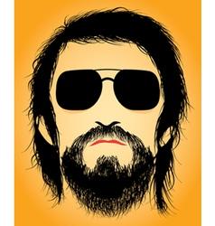 Bearded man silhouette vector image
