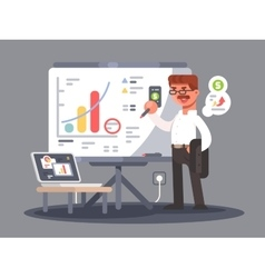 Business analyst shows presentation vector image