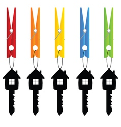 Clothespin holding key home art vector