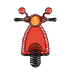 Color crayon stripe image front view red scooter vector