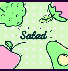 Delicious salad with vegetables and fresh fruits vector