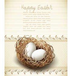 easter vintage background with a nest and eggs vector image vector image