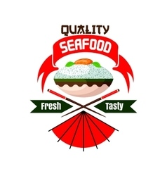 Fresh and tasty Japanese seafood restaurant icon vector image