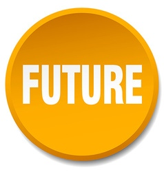 future orange round flat isolated push button vector image vector image