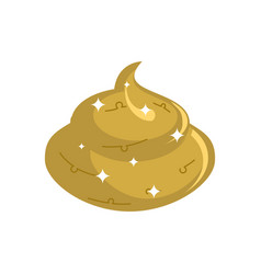 Gold shit isolated expensive turd poop golden vector