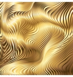 Golden striped waves abstract background vector image vector image