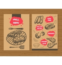Grill menu template Ready design BBQ menu for vector image vector image