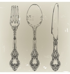 hand drawn fork knife and spoon ornate vector image vector image