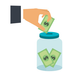 hand saver with glass jar and bills money vector image