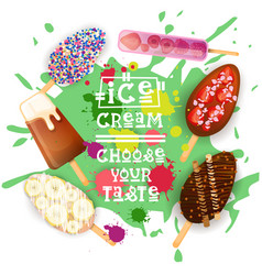 ice cream lolly set colorful desserts collection vector image