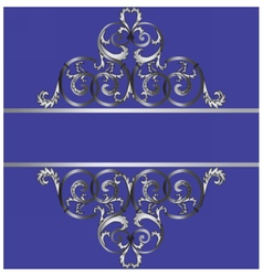 Invitation card with classic silver royal ornament vector
