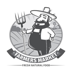 Label with farmer vector