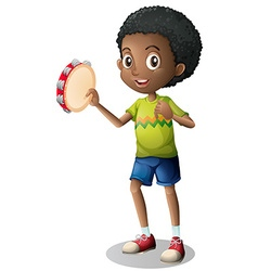 Little boy playing tambourine vector