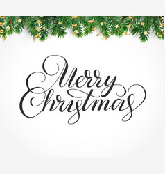 merry christmas hand written lettering winter vector image