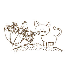 Monochrome hand drawn silhouette of cat in hill vector