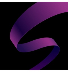 Purple fabric curved ribbon on black background vector