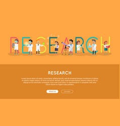 research science banner human characters in gowns vector image vector image