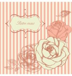 retro roses corner vector image vector image