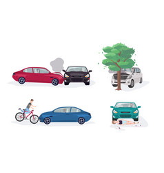 Road accident different situations collection car vector