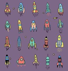 rocket set hand drawn vector image