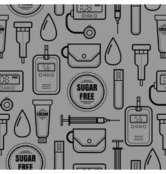Seamless pattern of medical flat objects Diabetes vector image vector image