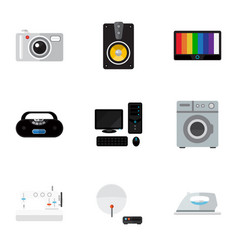 Set of 9 editable technology flat icons includes vector
