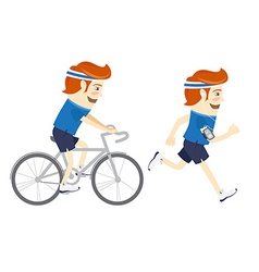 Set of Hipster funny sportsmen cycling and running vector image