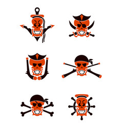 Skull sea tribal tattoo set vector