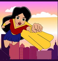 Superhero woman cartoon vector