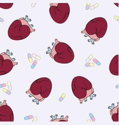The human heart seamless pattern vector