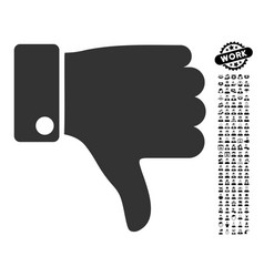 Thumb down icon with people bonus vector