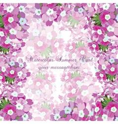 Watercolor flowers card vector