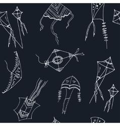 Doodle kite seamless pattern on black background vector
