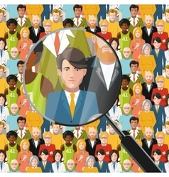 Men in crowd under magnifying glass flat vector
