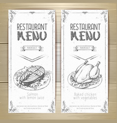 Set of restaurant menu hand drawn banners vector