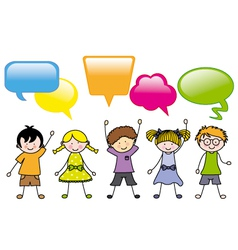 children in group dialogues boxes vector image
