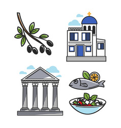 greek architectural and food symbols isolated vector image