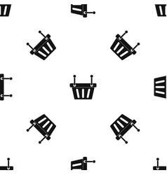 Shopping cart pattern seamless black vector