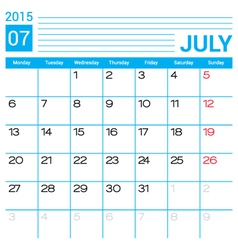 July 2015 calendar page template vector
