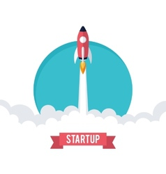 Flat designt business startup launch concept vector
