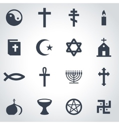 black religion icon set vector image